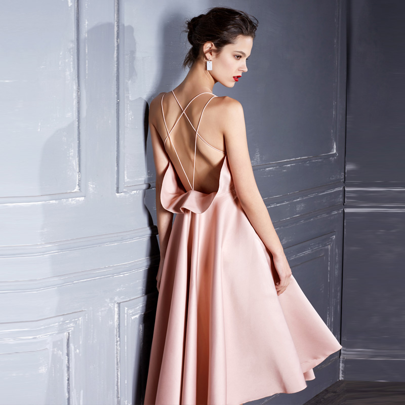Pink Elegant Party Backless   Evening     Dress   2019 Summer Sexy   Dress   With Open Back Sleeveless   Dress   Strappy Wrap Ruffle   Dress
