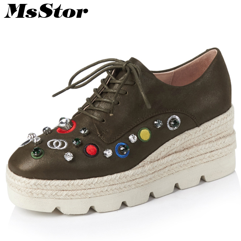 MsStor Round Toe Women Embroider Shoes Fashion Crystal Women Leather Shoes Mixed Colors Height Increasing Shoes Women Flat Shoes цена и фото