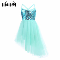 Iiniim Children Kids Dancing Sequins Ballet Dress Girl Tulle Tutu Ballet Dancewear Dress Leotard Ballerina Fairy