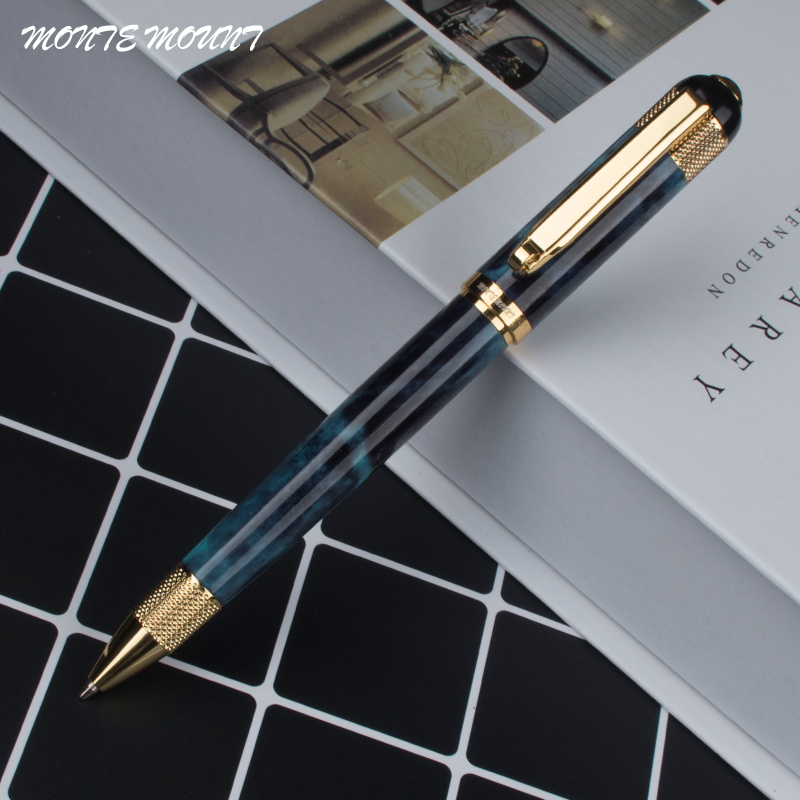 Monte Mount Metal Ballpoint Pen Luxury School Writing Pens With 0.7mm Black Ink Refill Pens With Gift Box Free Shipping