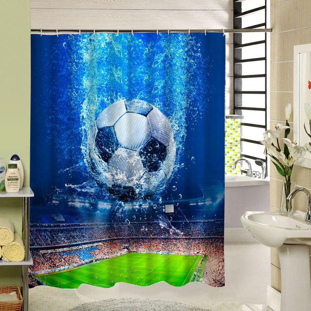 Football Shower Curtain Blue Polyester Fabric Waterproof Mildewproof 3d Print Design For Home Soccer Bathroom