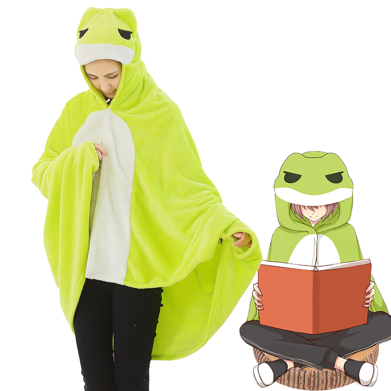 Hot Japan Game Travel Frog Cosplay Cloak Air Blankets Green Hoodie Shawl Winter Warm Cloak 3 Size
