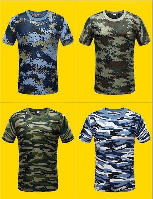 Nuovo Camuffamento T-Shirt Uomo Traspirante Army Tattica di Combattimento T Shirt militare Dry Camo Campo Tees ACU Verde t-shirt outdoor di uomini