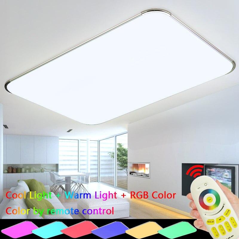 Современные потолочные светильники RGB лампа Plafonnier Led Moderne 2,4 г РФ дистанционного Lamparas де Techo Luminaria для Спальня Гостиная приспособление