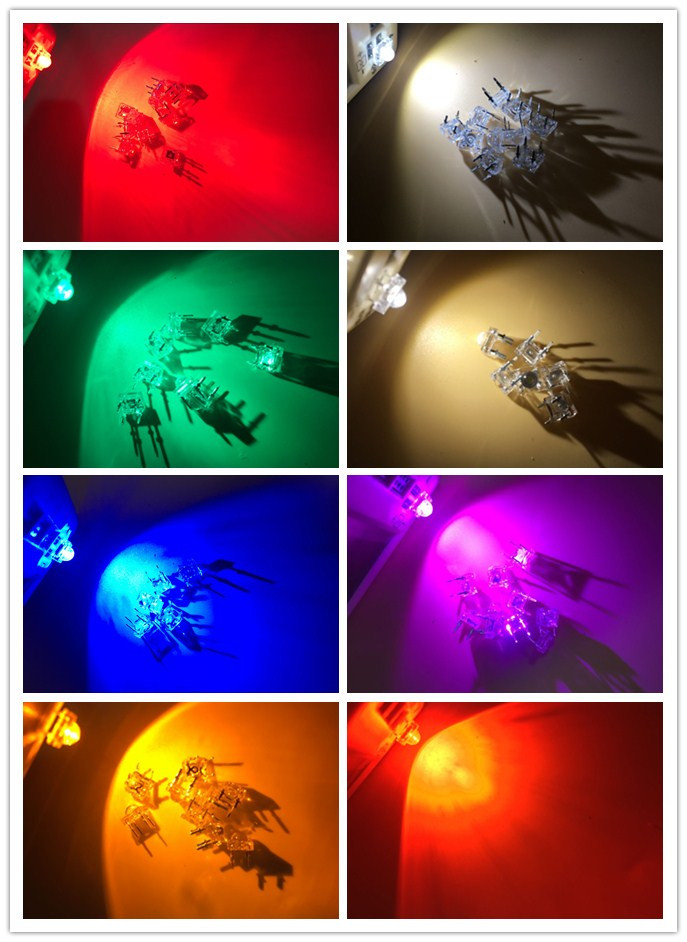 Diodes Electronic Components & Supplies 1000pcs X Yellow Red Warm White Jade Green Blue Pink Water Clear Led Piranha Square Flat Top Super Flux Light Diode Led