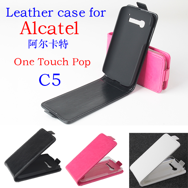 Flip Phone Bag Case For Alcatel One Touch Pop C5 Leather Stand Wallet Mobile