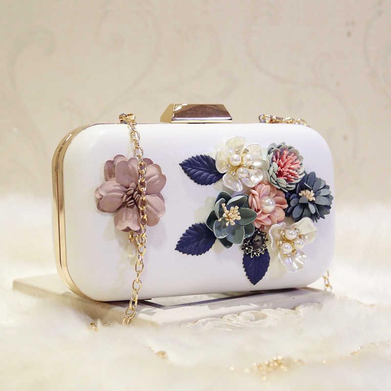 Meloke 2019 high quality 3d handmade flower evening bags famous brand clutch  wallets wedding dinner bags cf4c9cba357c