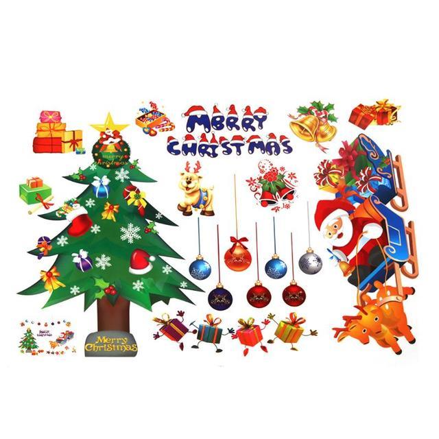 DIY Рождество стены Стикеры подарки Санта-Клауса дерево сани украшения окна стены Стикеры рождественские украшения для дома E5M1