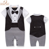 Baby Boy Summer Short Sleeves Gentlemen Bow Tie Tuxedo Romper Infant Clothes Toddler Kids Black Plaid