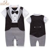 Baby Boy Summer Short Sleeves Gentlemen Bow Tie Tuxedo Romper Infant Clothes Toddler Kids Black Plaid