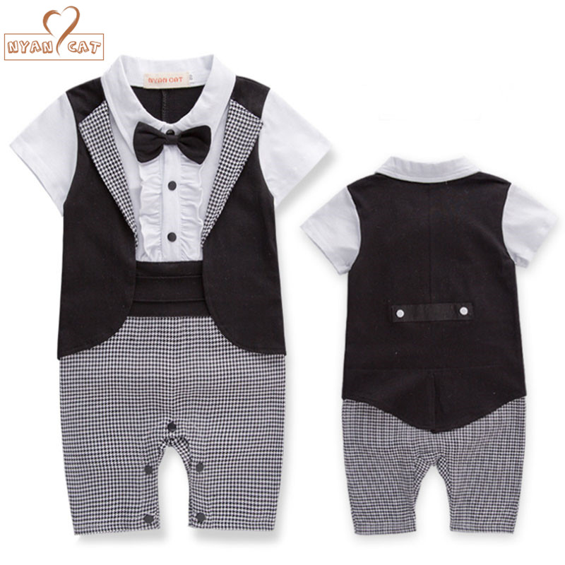 Nyan Cat Baby boy summer short long sleeves gentlemen bow tie tuxedo romper infant toddler black plaid jumpsuit wedding clothes nyan cat baby boy clothes short sleeves gentleman bow tie vest romper hat 2pcs set outfit jumpsuit rompers party cotton costume