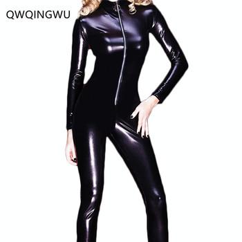 2b14031e512 High Quality Sexy Zipper Womens Erotic Close-Fitting Faux Leather Jumpsuit  PVC Catsuit Leotard Skeleton Bodysuit Costume Club Wear Jumpsuit