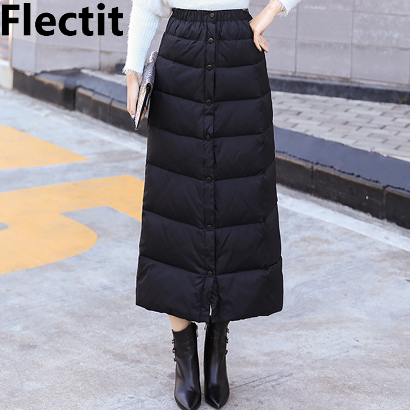 Flectit Women Warm Padded Skirt Black Quilted Long Skirt Button Up Ankle Length Fall Winter Thick Skirt Plus Size 3XL *