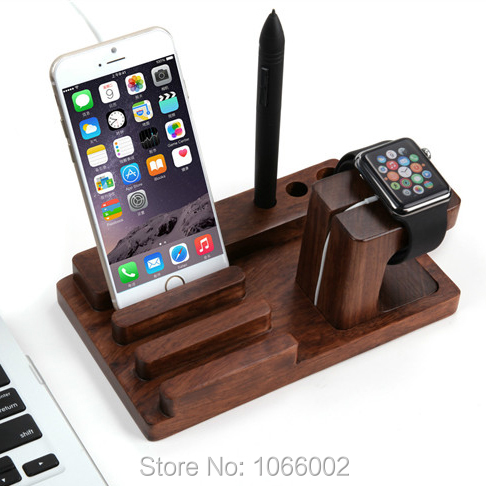 Retro 2 In 1 Wood Charging Dock Station For Le I Watch Office Desk Cradle Stand