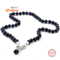 [MeiBaPJ] 43cm Black real natural pearl beads necklace with 925 sterling silver bow pendant Party Jewelry gift box