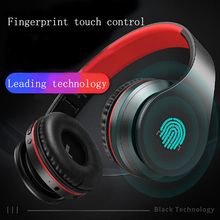 Smart wireless Bluetooth headphone fingerprint touch portable foldable retractable design noise cancelling stereo surround sound