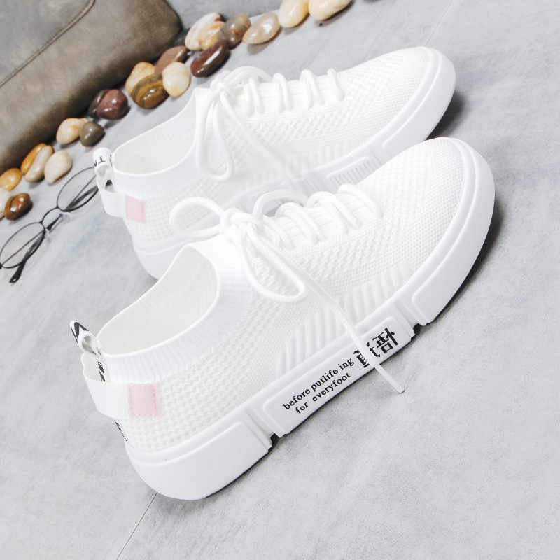Chaussures blanc Tissé Automne Blanc rose Étudiant Nouvelle Super Feu Coréenne Chaussures 2018 Sauvage Casual De Femme Respirant Noir Vol Version xYHw4dqa
