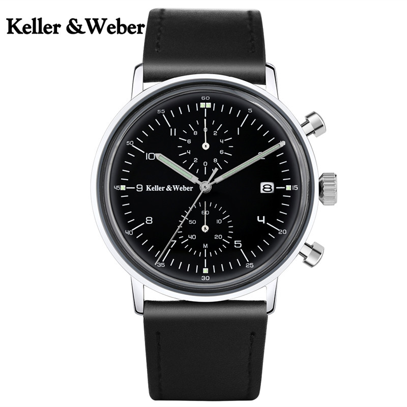 Keller & Weber Business Classic Calendar Genuine Leather Band Strap Men Chronograph Date Display Brief Paragraph Wrist Watch business men sport outdoor men water resistance cool genuine leather plaid band strap wrist watch date day army trendy orologio page