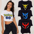 Pokemon Go ash ketchum Crop Top Vest Tank Tee shirt Team valor Shirt Womens Adults Croped