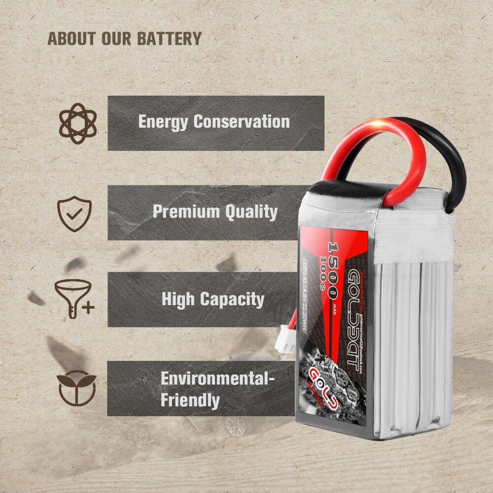 2 UNITÉS GOLDBAT 14.8 V chargeur de batterie 1500 mAh 4 S chargeur de batterie lipo 100C Pack lipo avec XT60 Plug pour RC Voiture camion Avion FPV - 4
