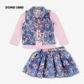 2017 moda verão crianças conjuntos de roupas menina 3 pcs outfits Denim curto casacos de algodão dos desenhos animados tops floral saia ternos roupas
