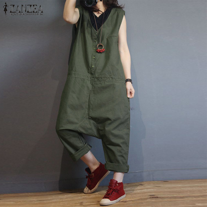 2019 Plus Size ZANZEA Casual Women Solid Sleeveless Cotton Linen Loose Party Long Drop Crotch Overalls Harem Jumpsuits Playsuit