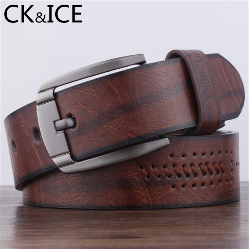 CK&ICE New Faux Leather Belts For Men Vintage Pin Buckle Belt Car Suture Round Hollow Out Decoration locomotive Men Wild Style