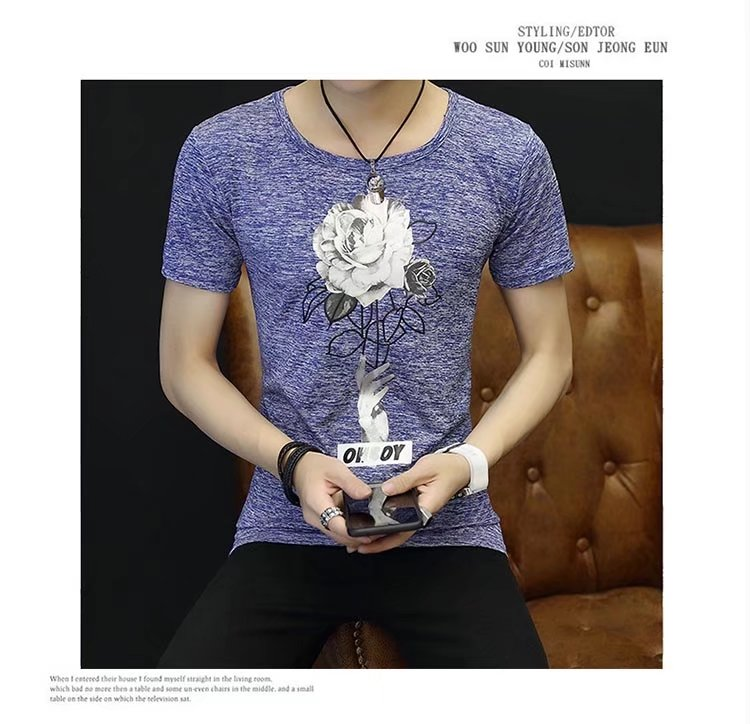 Spring 100% Cotton Casual Short Sleeve Rose Printing Men T Shirt O-neck Knitted Comfortable Fabric Street Style Men T-shirt 50