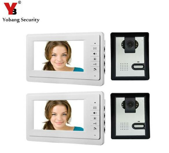 Yobang Security Freeship 7 Color TFT LCD Video Door Phone Electric Door Release Doorbell System for Villa Interphone Doorphone freeship 10 door intercom security system hands free monitor color tft lcd screen intercom system video door phone for villa