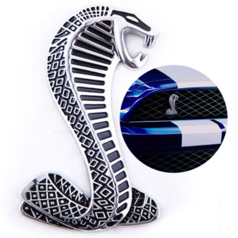 Mustang Cobra Snake Shelby Metal Front Grill logo Emblem Badge Chrome Nice