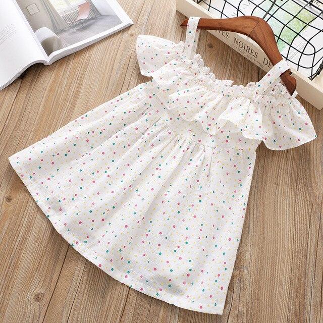 Summer Girls Dress Off Shoulder Dresses for Girls Polka Dot Cotton Children Dress Ruffles Kids Dress Fashion Girls Clothing