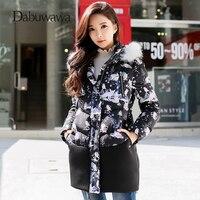 Dabuwawa черный зима теплая печатных женские куртки и пальто Повседневное пуховик с натуральным мехом пальто парка