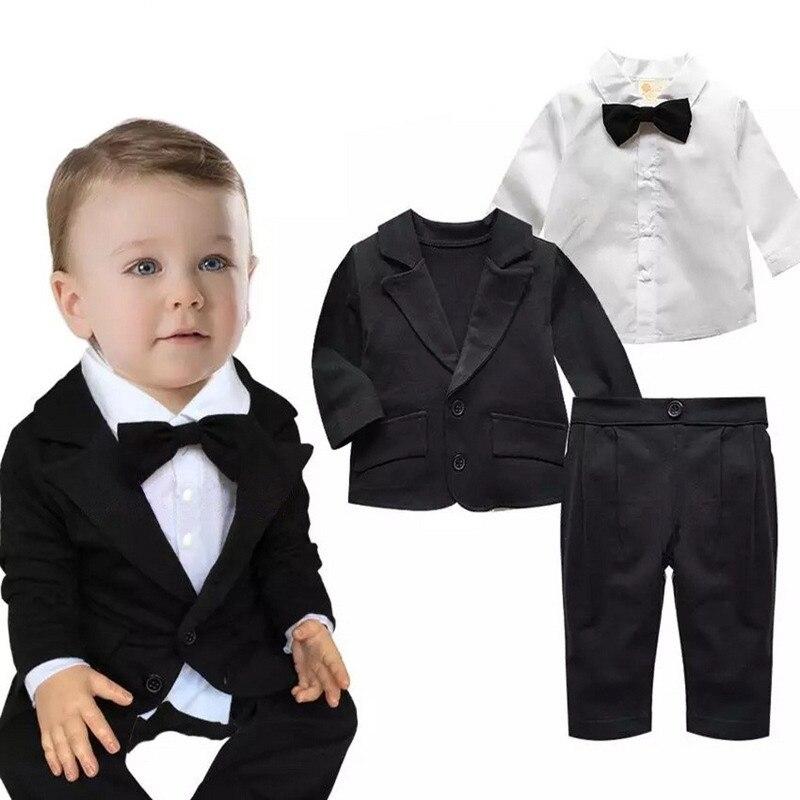 Niños bebés establece infantil Otoño de manga larga ropa de la capa + Pantalones + Camiseta 3 unidades traje recién nacido partido boda Formal ropa de algodón