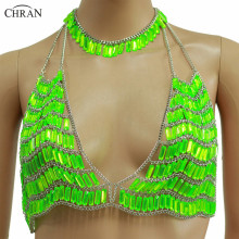 Chran Chain Halter Top Body Harness Necklace Sexy Women Sequin Body Chain Bra Festival Costume
