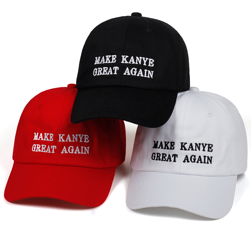 High Quality Letter MAKE KANYE GREAT AGAIN Snapback   Cap   Cotton   Baseball     Cap   For Men Women Hip Hop Dad Hat Bone Garros