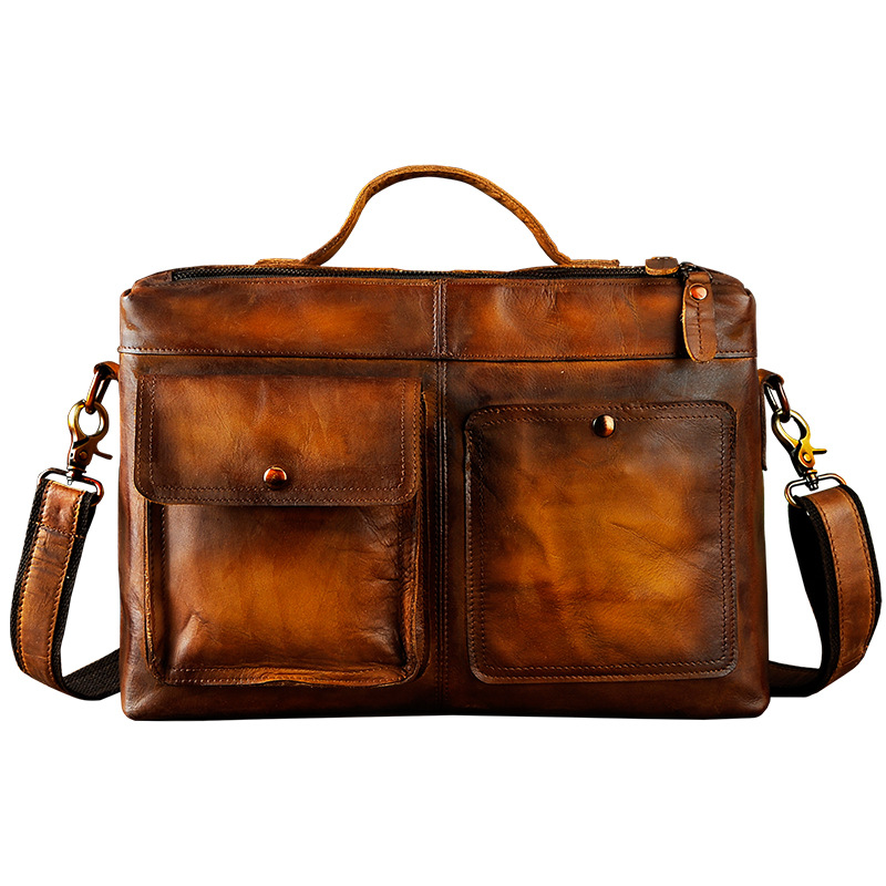 Men Original Leather Design Business Briefcase Laptop Bag Professional Executive Portfolio Lawyer Portfolio Messenger Bag 2119-d