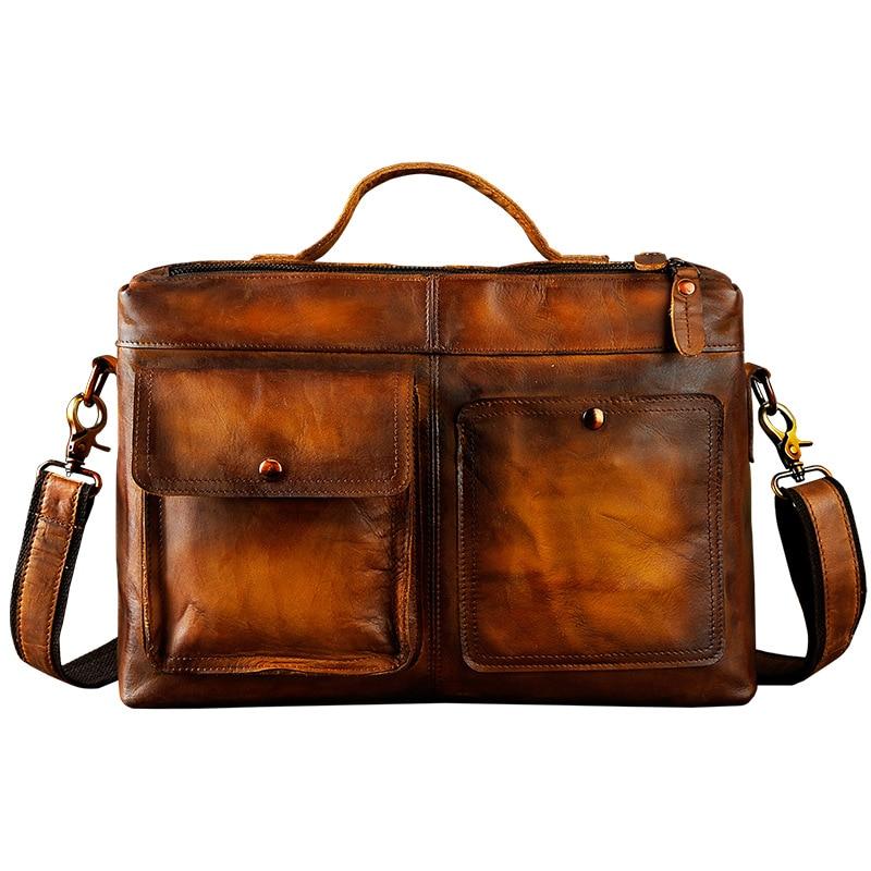 Men Original Leather Design Business Briefcase Laptop Bag Professional Executive Portfolio Lawyer Portfolio Messenger Bag 2119-d