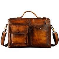 Mens Original Leather Design Business Briefcase Laptop Bag Professional Executive Portfolio Lawyer Portfolio Messenger Bag 2119d