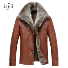 Winter Leather Coats Men Sheepskin Leather Jacket Fur Single Breasted Zippers Pockets Overcoat Fashion Slim Fit Manteau Homme