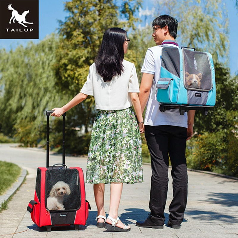 TAILUP Small Pet dog Wheel Carrier Dog Portable Strollers Backpack Breathable Puppy Roller Luggage Car Travel
