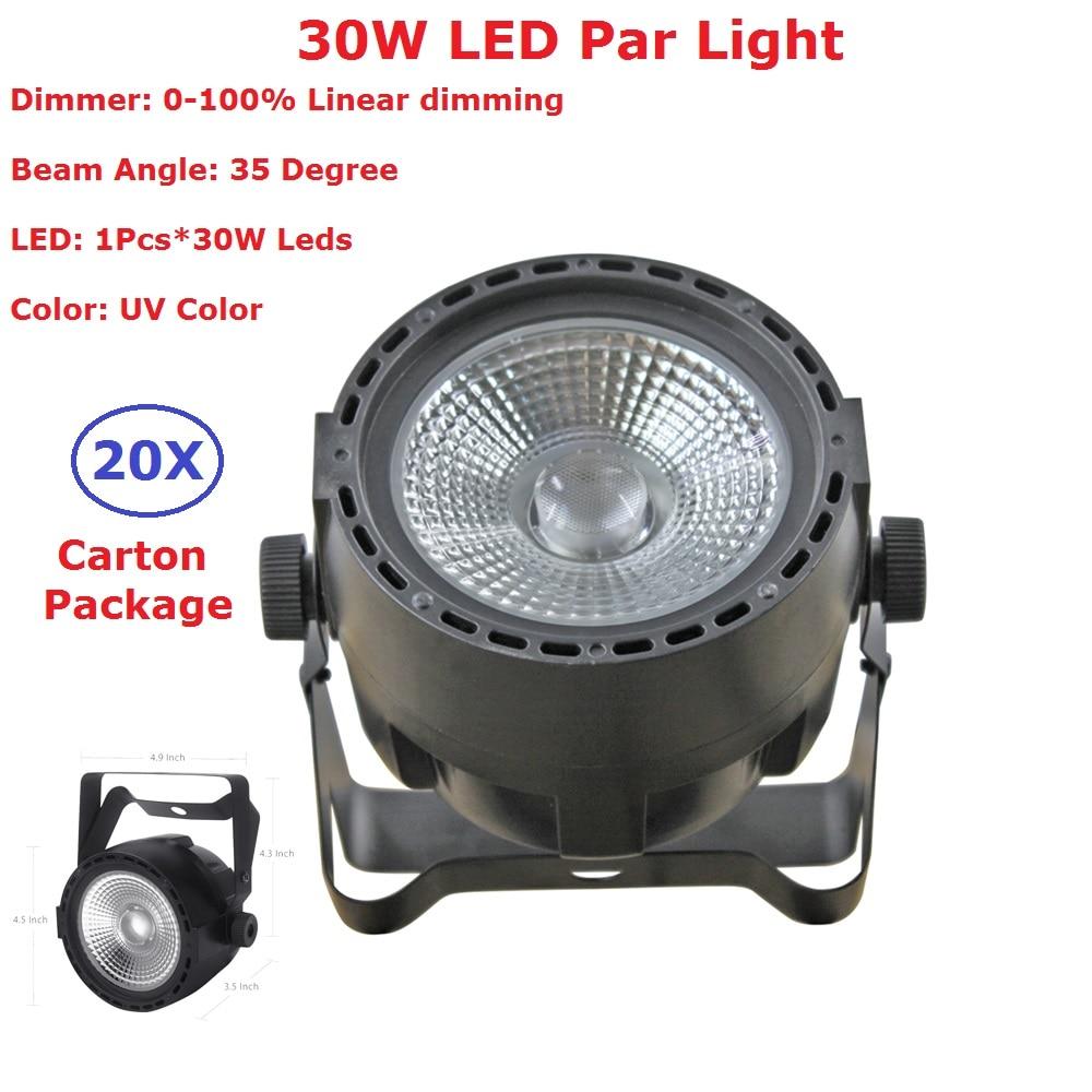 20XLot High Quality COB Par Lights 1PcsX30W UV Color LED Stage Par Lights 35 Degree Beam Angle For Christmas Holiday Decoration