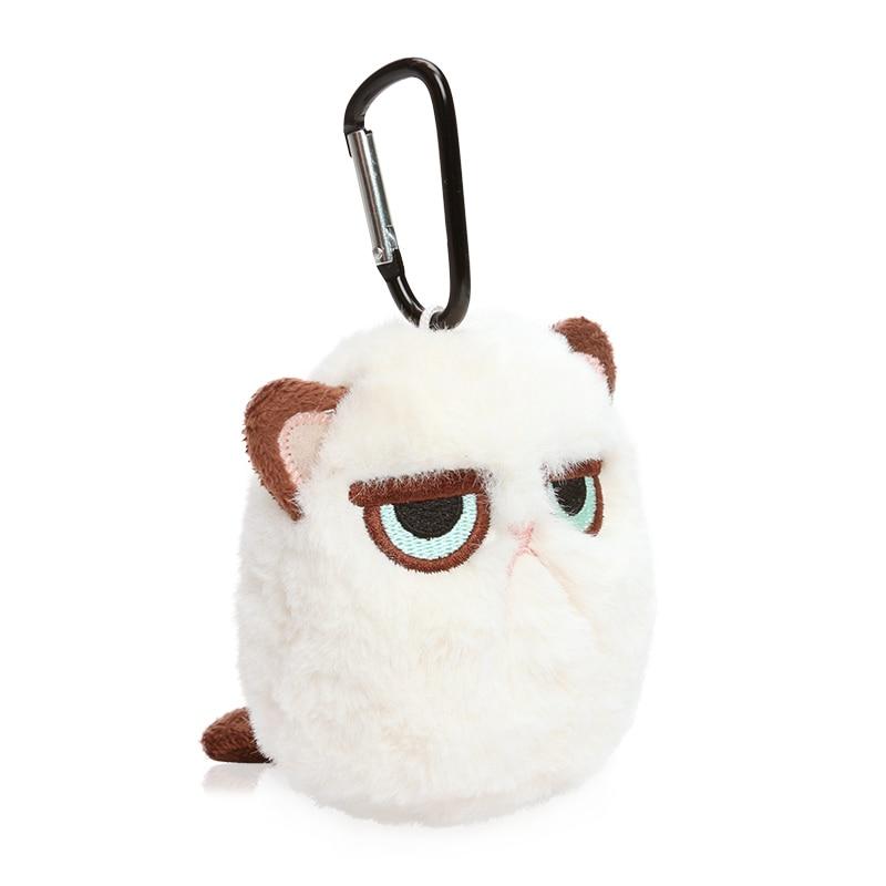 MICROPLUSH 12cm Grouchy Kitten Cat Plush Clip Keychain Mini Charm Bag Pendants Angry Cat Soft Stuffed Animal Toys Plushie Throw