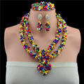 Hot 2017 Multicolor Boda Nigeriano Beads Africanos Joyería Conjunto Dubai Chapado En Oro de Joyería Nupcial Conjuntos Neckalce Envío Gratis