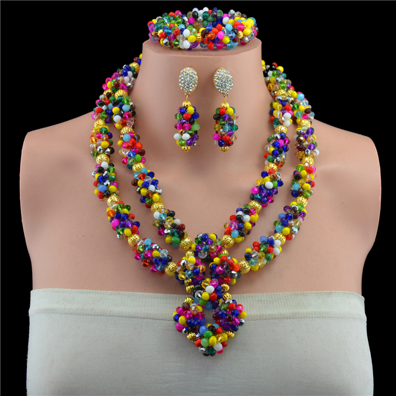Hot 2017 Multicolor Nigerian Wedding African Beads Jewelry Set Dubai Gold-color Set Bridal Jewelry Neckalce Sets Free Shipping free shipping china manufacturer sell jewelry set italian gold color jewelry sets bridal elegant jewelry set