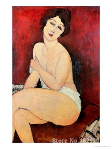 Large <font><b>Seated</b></font> <font><b>Nude</b></font> by Amedeo Modigliani paintings For sale Home Decor Hand painted High quality