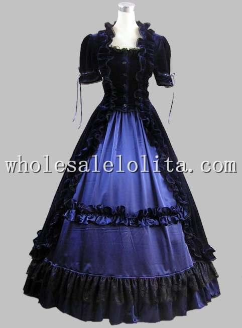 Хорошо сделанный из 2 предметов синего и черного цветов готический, викторианской эпохи платье исторический Театральный Костюм - Цвет: blue and black