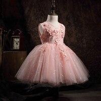 Floral Princess Dress for Little Girls Party Gowns Big Bowknot V neck Flower Girl Dresses for Wedding Kids Birthday Dress B139