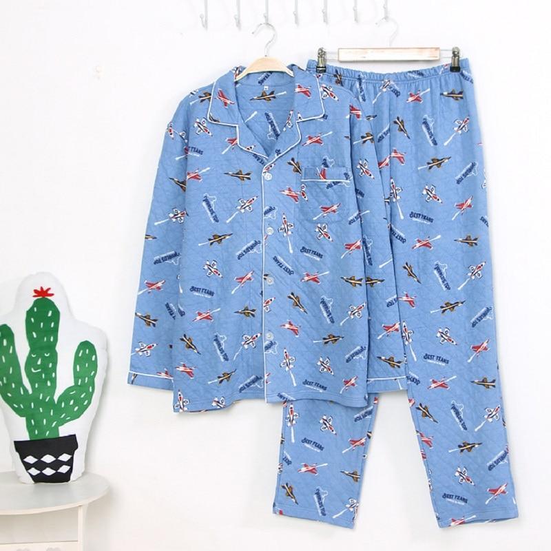 Hommes coton pyjamas costume pantalon complet élastique automne hiver épais chaud Pijama avions impression salon vêtements de nuit Hombre