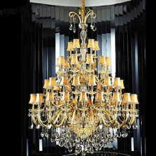 large Gold church chandelier crystal lamp 30-48 pcs hotel fixture led chandelier with shade champagne lustres de cristal lampara 30 48 arms church large led chandeliers lustres de cristal hotel long gold champagne crystal chandelier lamp shade led fixture