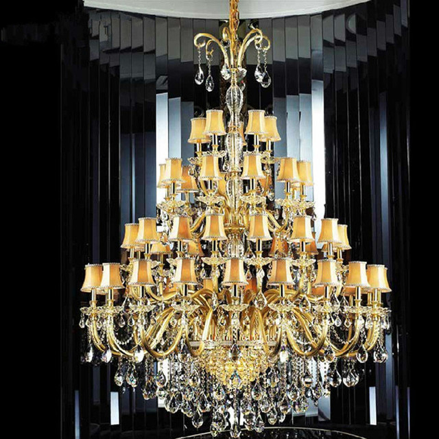 large Gold church chandelier crystal lamp 30-48 pcs hotel fixture led chandelier with shade champagne lustres de cristal lampara